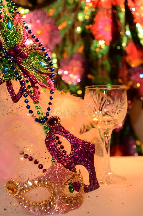Mardi Gras Southern holiday decorations. Celebrating and party table with festive atmosphere image with copyspace. Mardi Gras, or Fat Tuesday, refers to events royalty free stock photos