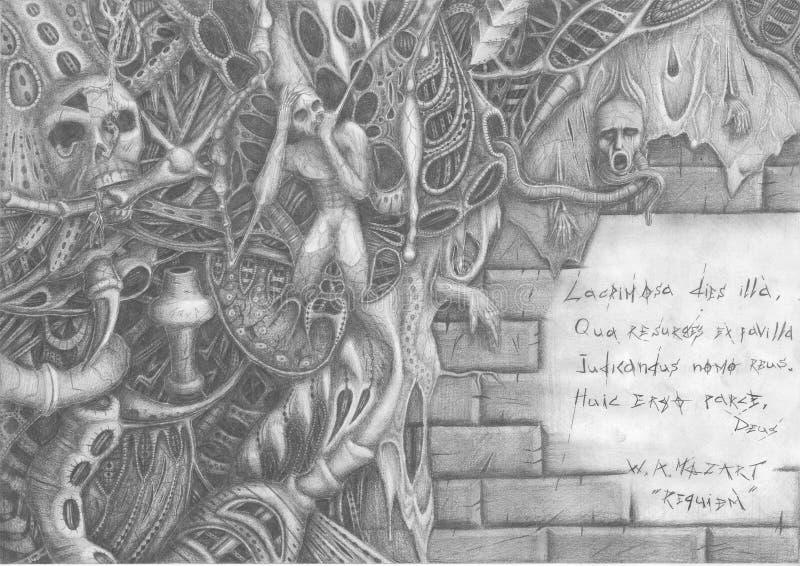 mardrömtextvägg royaltyfri illustrationer