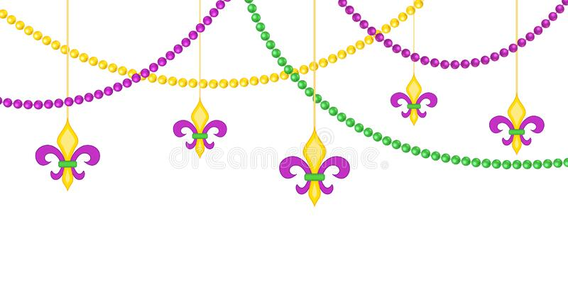 Mardy gras border with beads isolated on white background stock photo