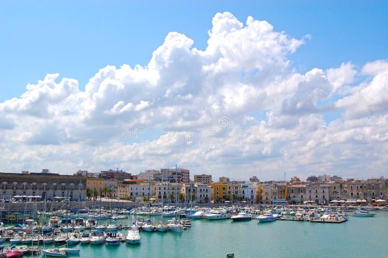 Port trani blue sea summer boat royalty free stock photos