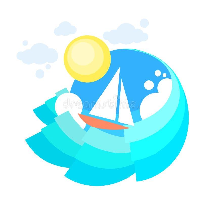 Download Mare Del Crogiolo Di Yacht Della Vela, Oceano Vaction Di Navigazione Dell'icona Illustrazione Vettoriale - Illustrazione di barca, fiume: 56882797
