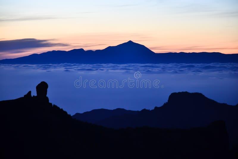 Mare delle nuvole fra Roque Nublo & Teide fotografie stock libere da diritti