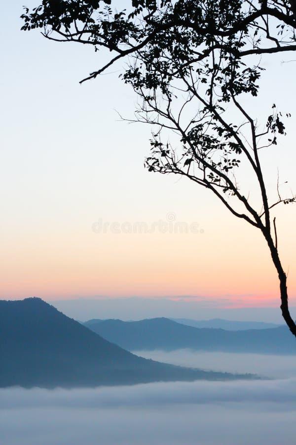 Mare di foschia e del tramonto sulla montagna immagine stock libera da diritti
