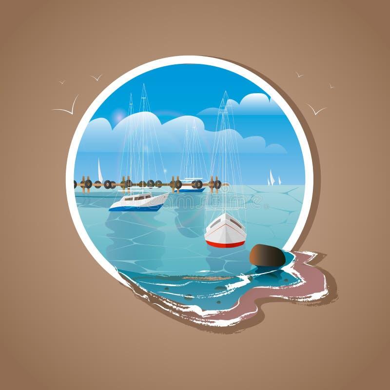 Mare di vettore, fondo del cielo e yacht blu nel telaio bianco illustrazione di stock