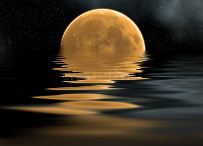 Mare e luna illustrazione di stock
