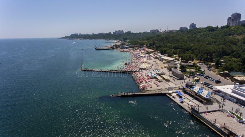 Mare e spiaggia Odessa aerea, Ucraina fotografia stock