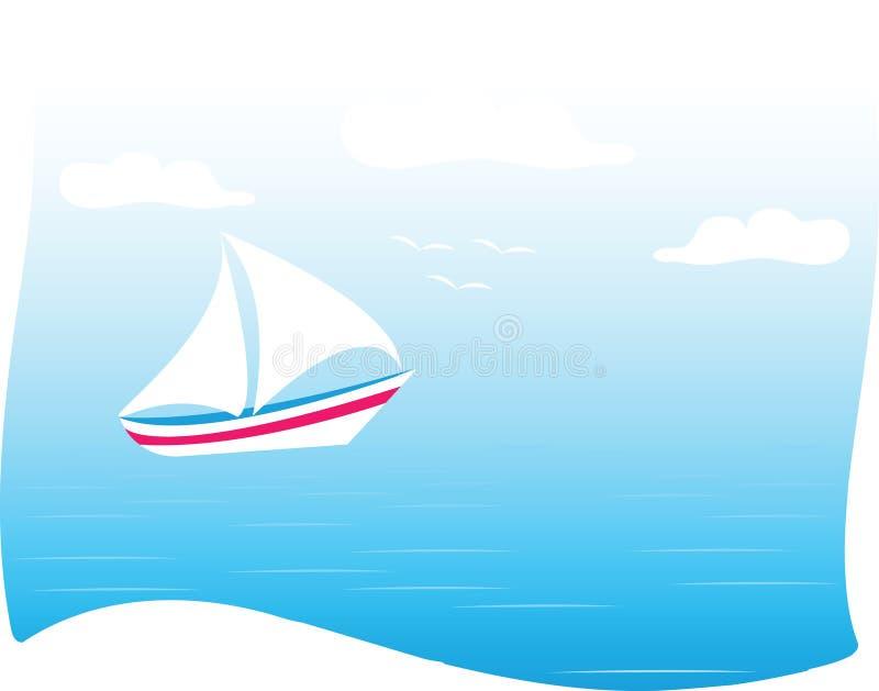 Mare e yacht illustrazione vettoriale