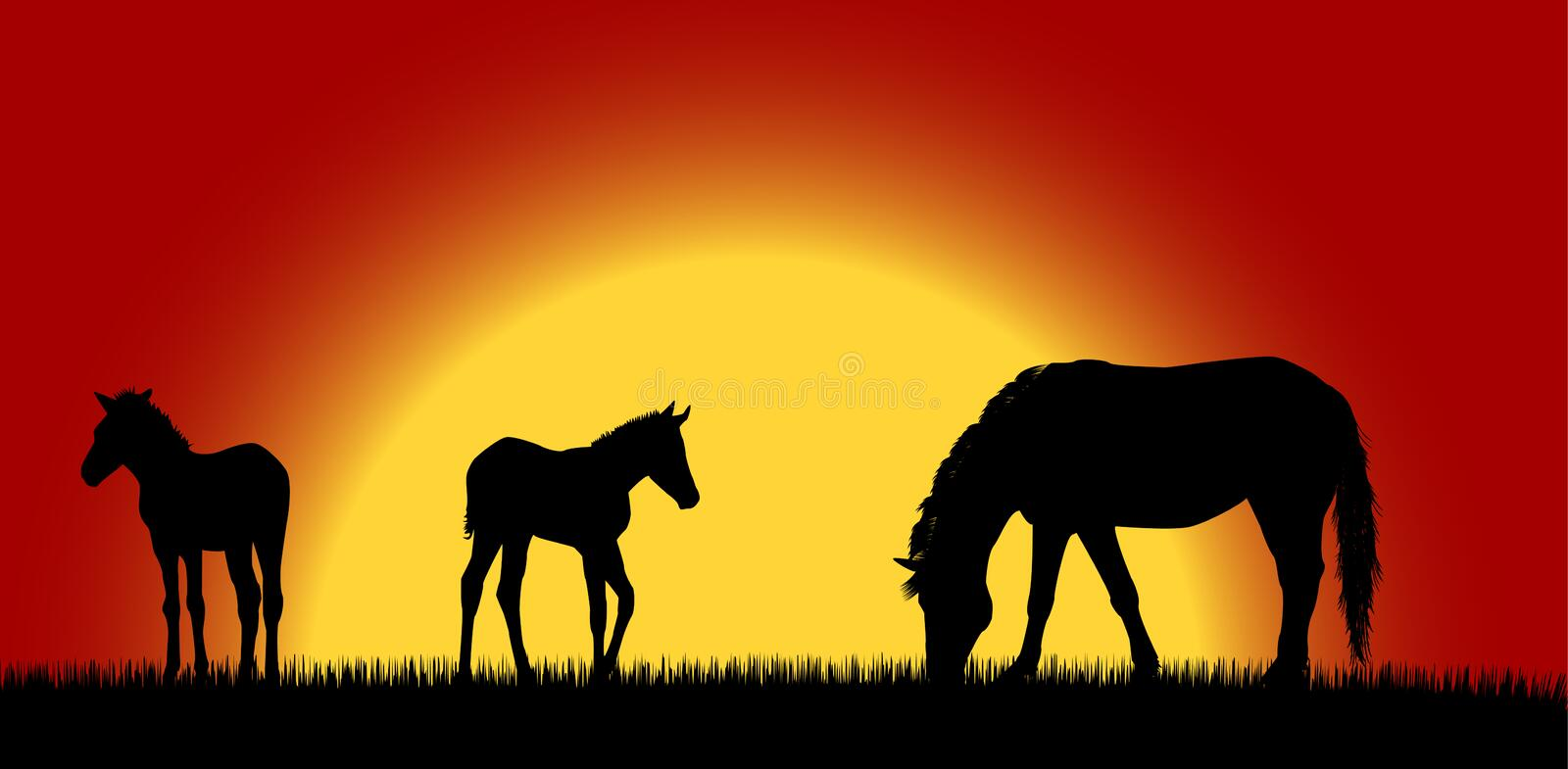 Download Mare with foals 2 stock illustration. Illustration of forest - 6617734