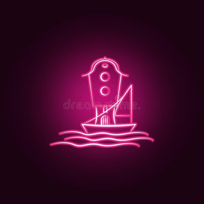 Mare immaginario della casa, icona al neon della nave Elementi dell'insieme immaginario della casa E illustrazione di stock