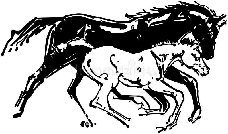 Mare och colt vektor illustrationer