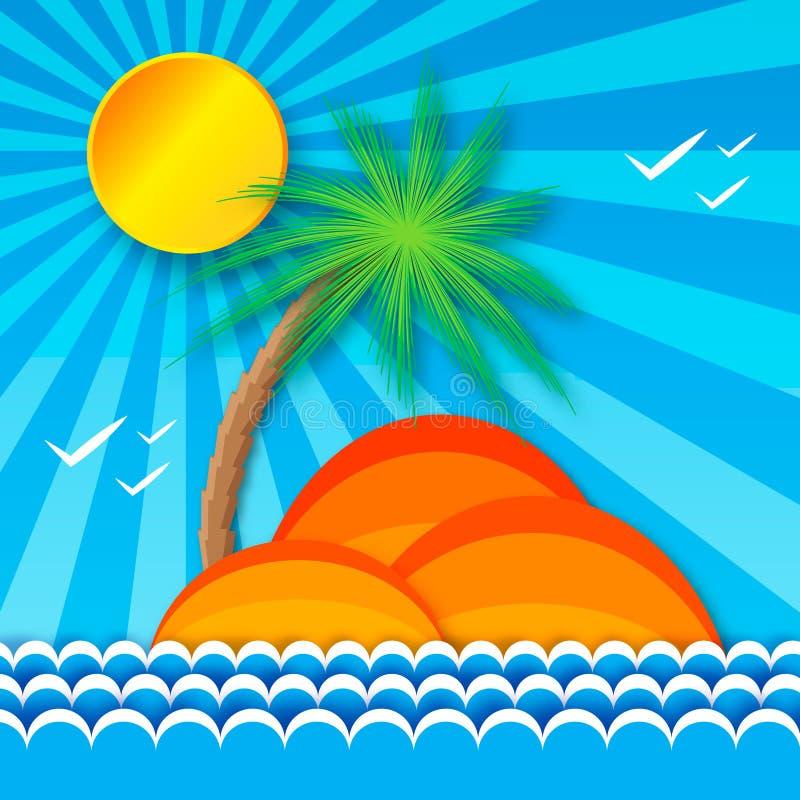 Mare tropicale di origami con il sole, l'isola e la palma luminosi illustrazione vettoriale