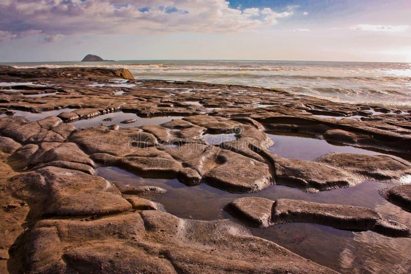 Marea baja en la playa de Muriwai cerca de Auckland, Nueva Zelanda imágenes de archivo libres de regalías