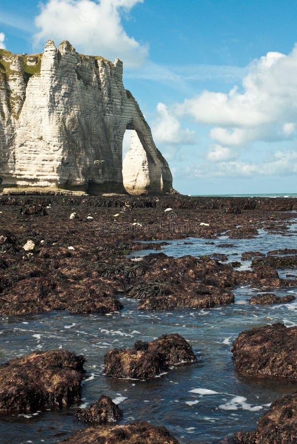 Marea bassa su una spiaggia in Normandia, Francia fotografia stock libera da diritti