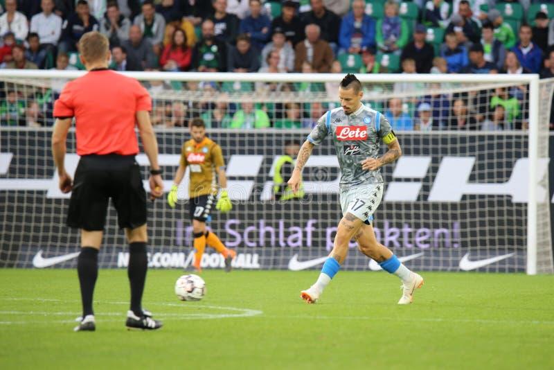 Marek Hamsik στη δράση κατά τη διάρκεια ενός αγώνα ποδοσφαίρου στοκ εικόνες