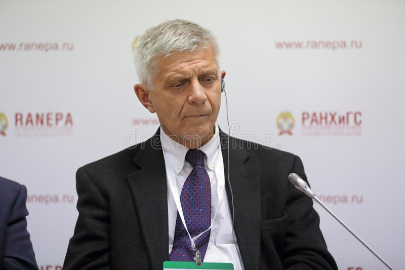 Marek Marian Belka. MOSCOW, RUSSIA - JAN 12, 2017: Marek Marian Belka - Polish economist and statesman, 11th Prime Minister of Poland at the Gaidar Forum 2017 royalty free stock photos