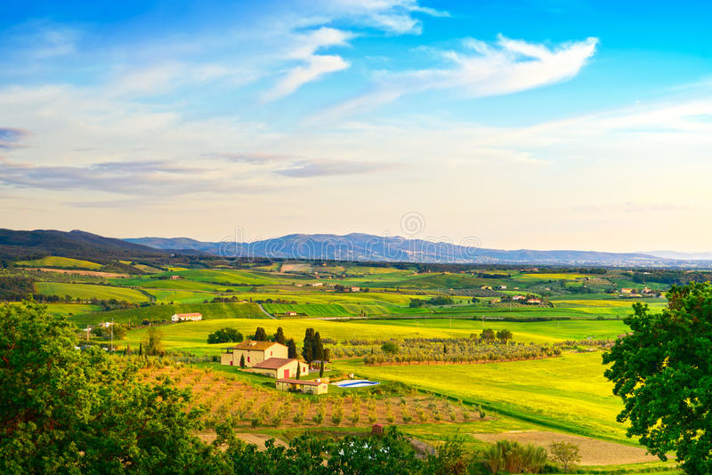 Maremma, rural sunset landscape. Countryside farm and green field. Tuscany, Italy. stock photos