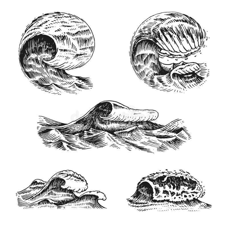 Maremotos atlânticos Etiquetas tiradas mão gravadas velhas do vintage Fundo marinho e náutico ou do mar, oceano para a bandeira o ilustração royalty free