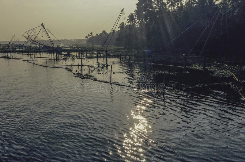 Mares chinoises de Kerela de filets de pêche image libre de droits
