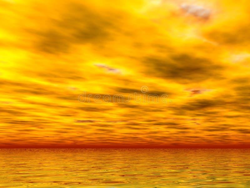 Mares e céus amarelos ilustração do vetor