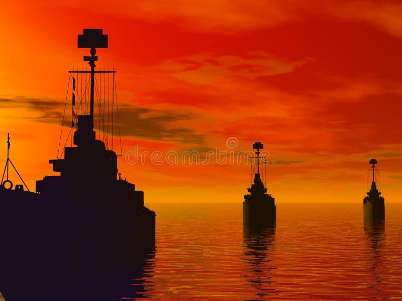 Mares sul durante a guerra de mundo ajuste fotos de stock