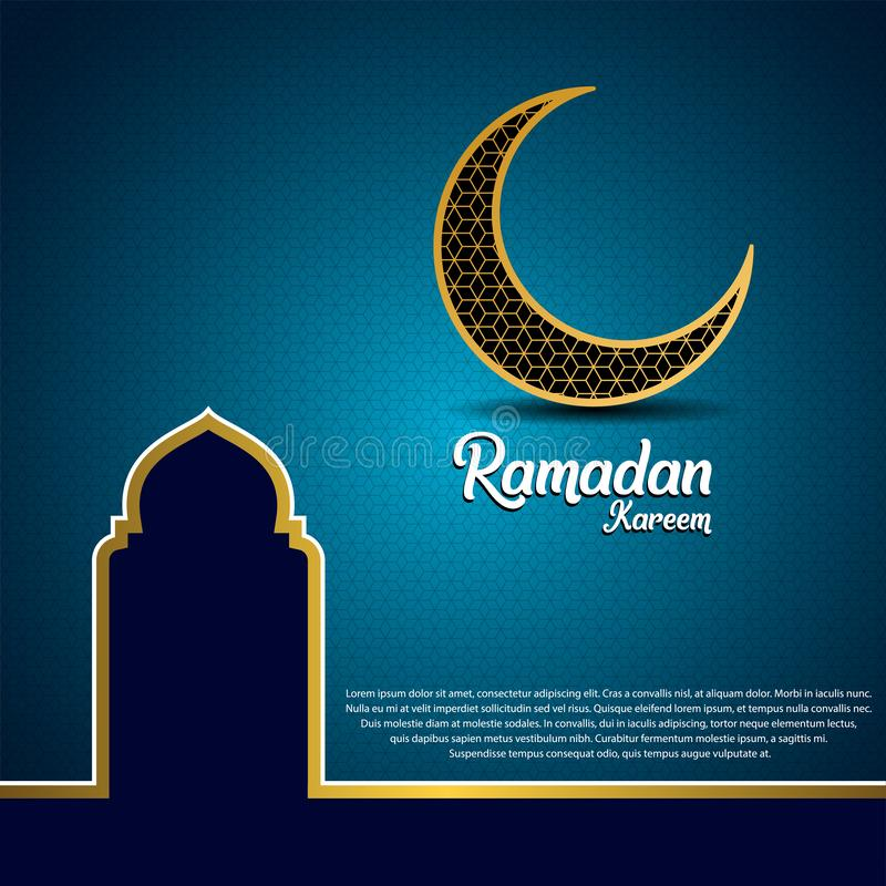 Ramadan kareem background, illustration with mosque dome and golden ornate crescent, on blue background vector illustration