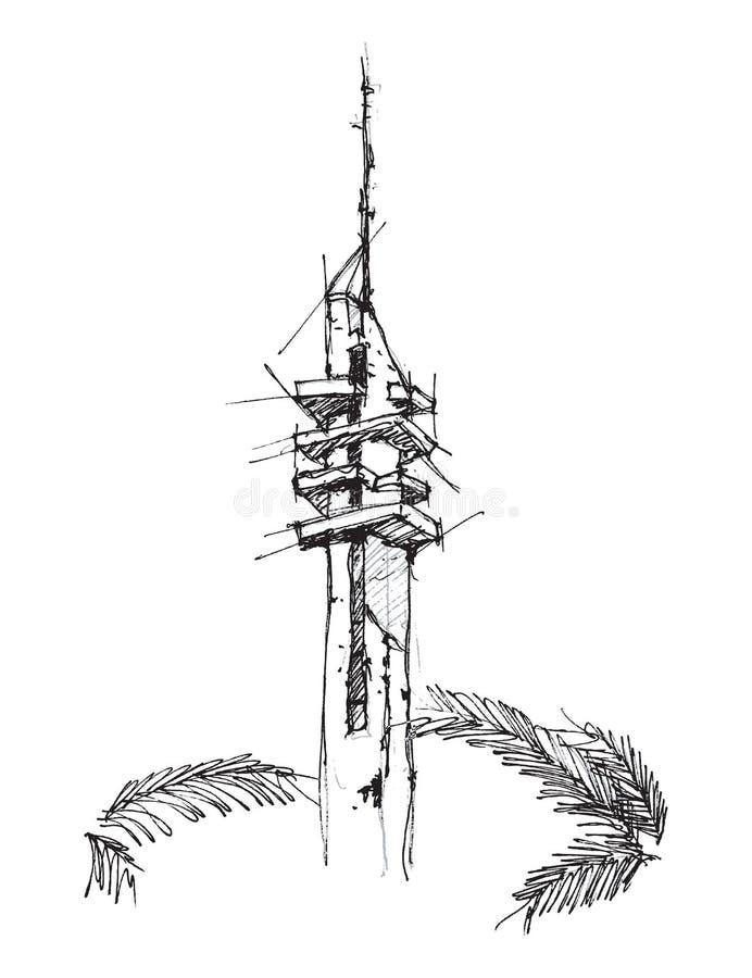 Marganit塔手图画剪影例证 免版税库存图片