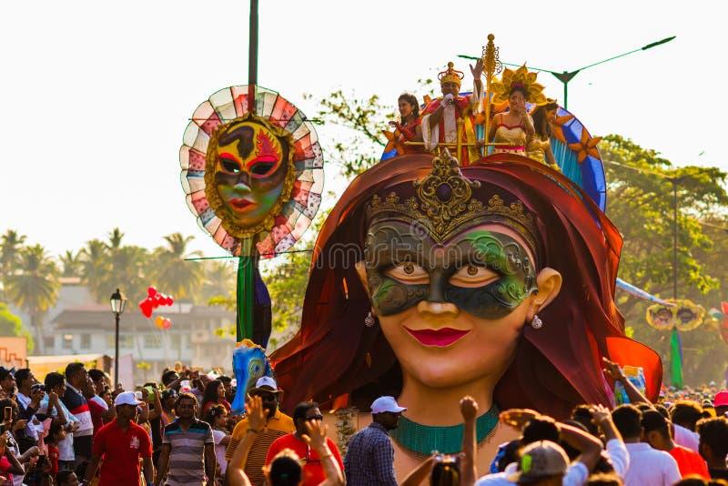Margao, Goa/India 12 febbraio 2018: Celebrazioni di carnevale in Goa, India immagine stock libera da diritti