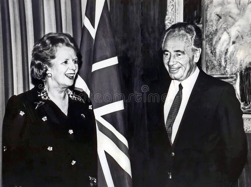 Margaret撒切尔和西蒙・佩雷斯 免版税库存图片