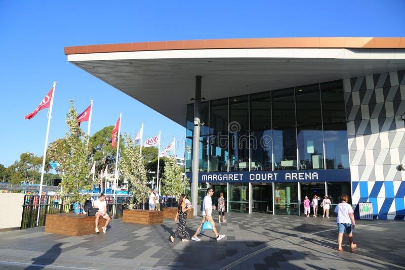 Margaret Absztyfikuje arenę podczas 2019 australianu open przy Australijskim tenisa centrum w Melbourne zdjęcia stock