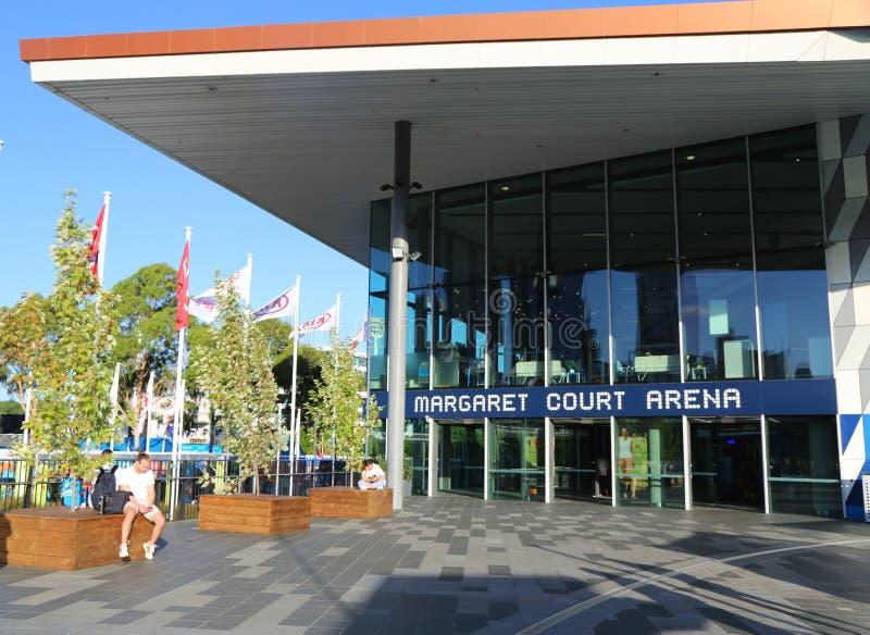 Margaret Absztyfikuje arenę podczas 2019 australianu open przy Australijskim tenisa centrum w Melbourne obraz stock