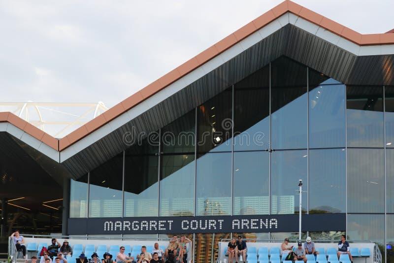 Margaret Absztyfikuje arenę podczas 2019 australianu open przy Australijskim tenisa centrum w Melbourne zdjęcie royalty free