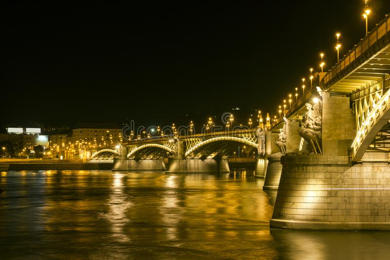Margaret Bridge by night in Budapest stock image