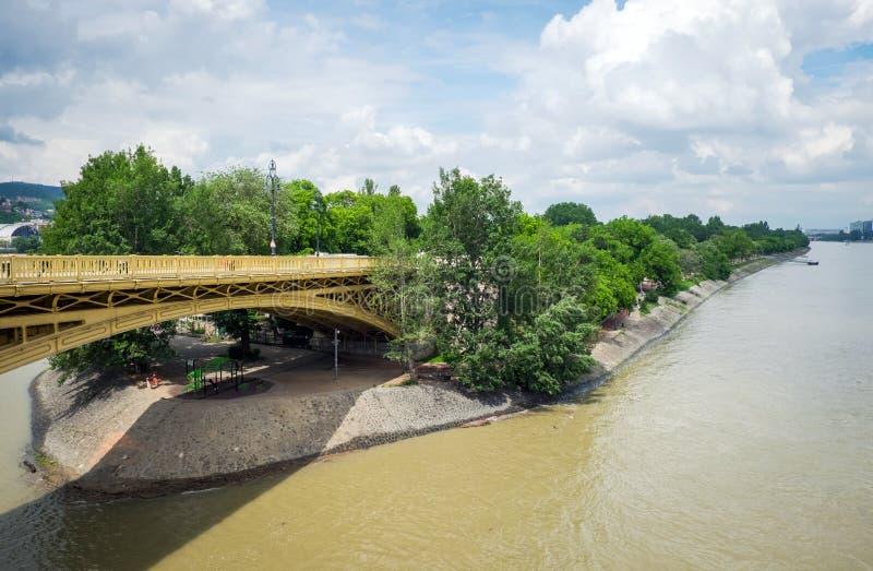 Margaret Bridge – three-way bridge, view to Magret Island, Budapest royalty free stock photos