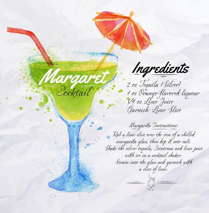 Margaret coctailvattenfärg royaltyfri illustrationer
