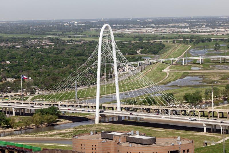 The Margaret Hunt Bridge in Dallas, United States. DALLAS, USA - APR 7: The Margaret Hunt Bridge designed by Santiago Calatrava is the new landmark in Dallas royalty free stock photo