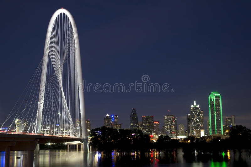 Download Margaret Hunt Hill Bridge And Skyline At Night Editorial Photography - Image: 54823757