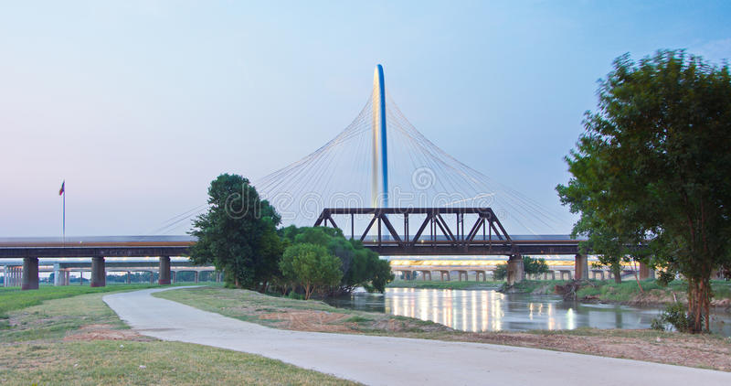 Margaret Hunt Hill Bridge at subset in Dallas, Texas stock photography