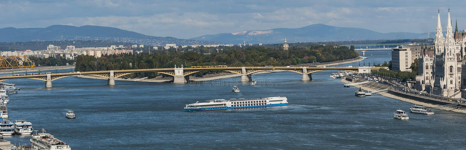 The Danube panorama with Margaret Island royalty free stock photo
