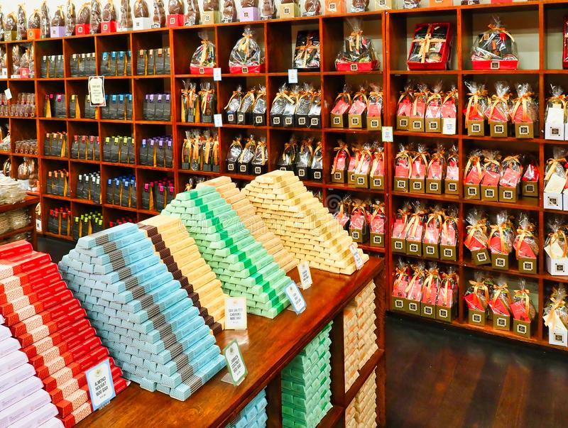 Margaret River Chocolate Factory Shop, Western Australia. Many packaged chocolate varieties on display in the Margaret River Chocolate Factory store, Western stock images