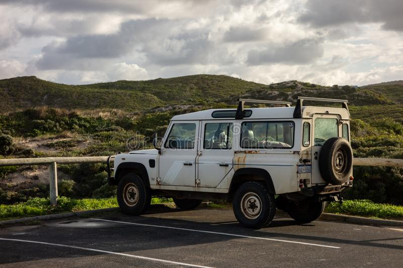 Legendary off-road Land Rover Defender 110 parked in Margaret River, WA region ready to go into the distant outback royalty free stock photography