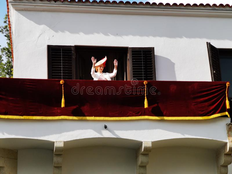 Margareta, Princess Rumunia balkon w Elisabeth pa?ac zdjęcia stock