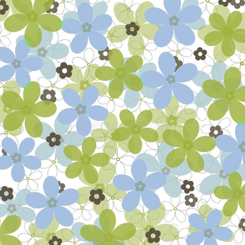 Margaridas azuis e verdes no fundo branco ilustração royalty free