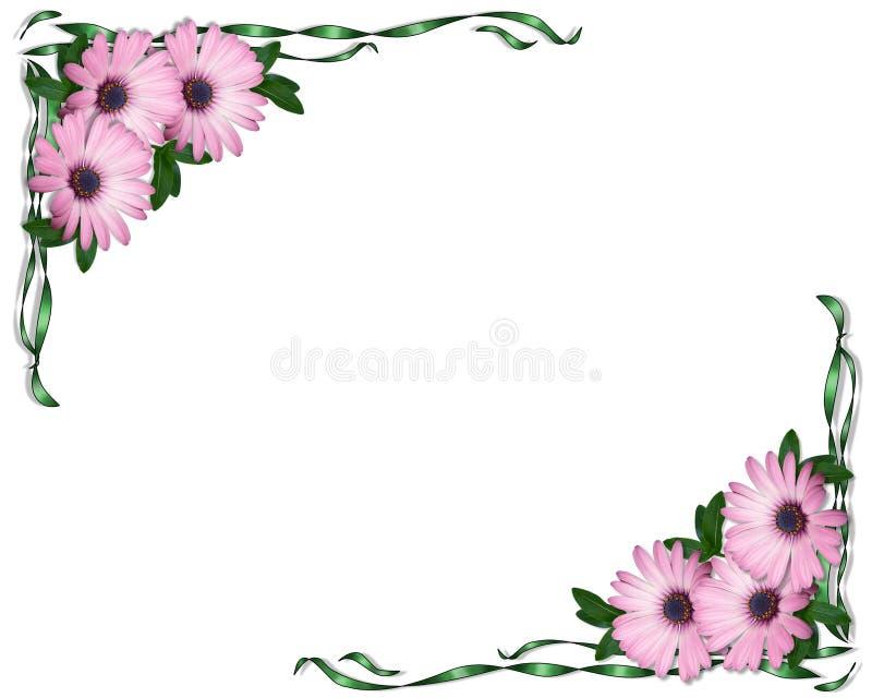 Margaridas do roxo do convite do casamento ou do partido ilustração do vetor