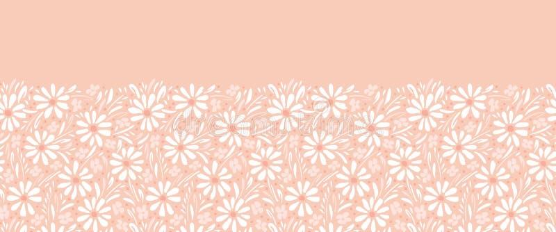 Margaridas e folha pintados ? m?o monocrom?ticas na beira sem emenda do vetor horizontal do fundo do rosa do p?ssego Borda floral ilustração royalty free