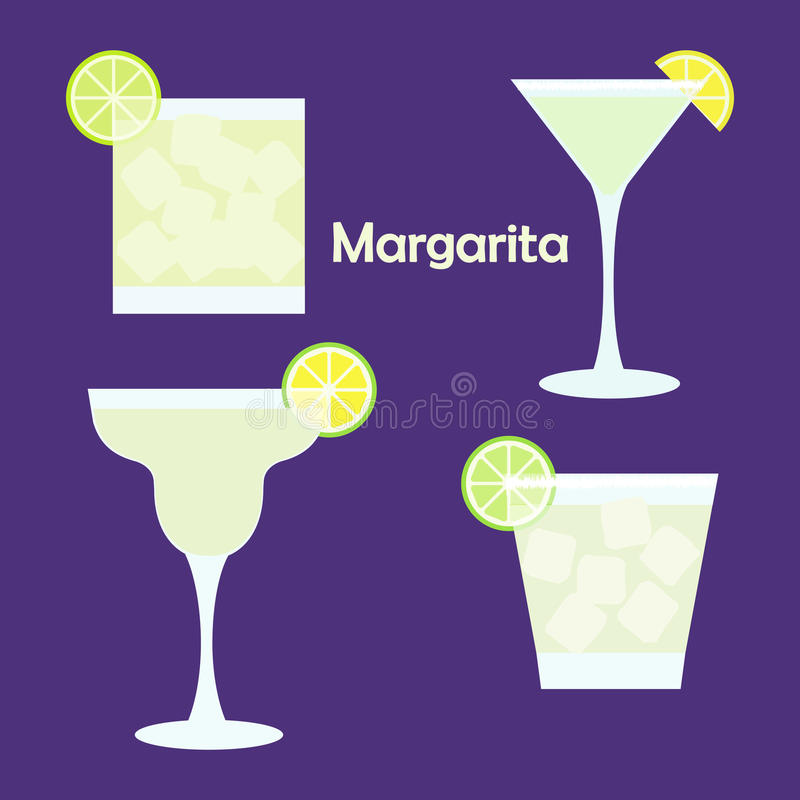 Margarita alcohol cocktail. In different glasses - vector illustration for bar menu, restaurant decoration, party poster royalty free illustration