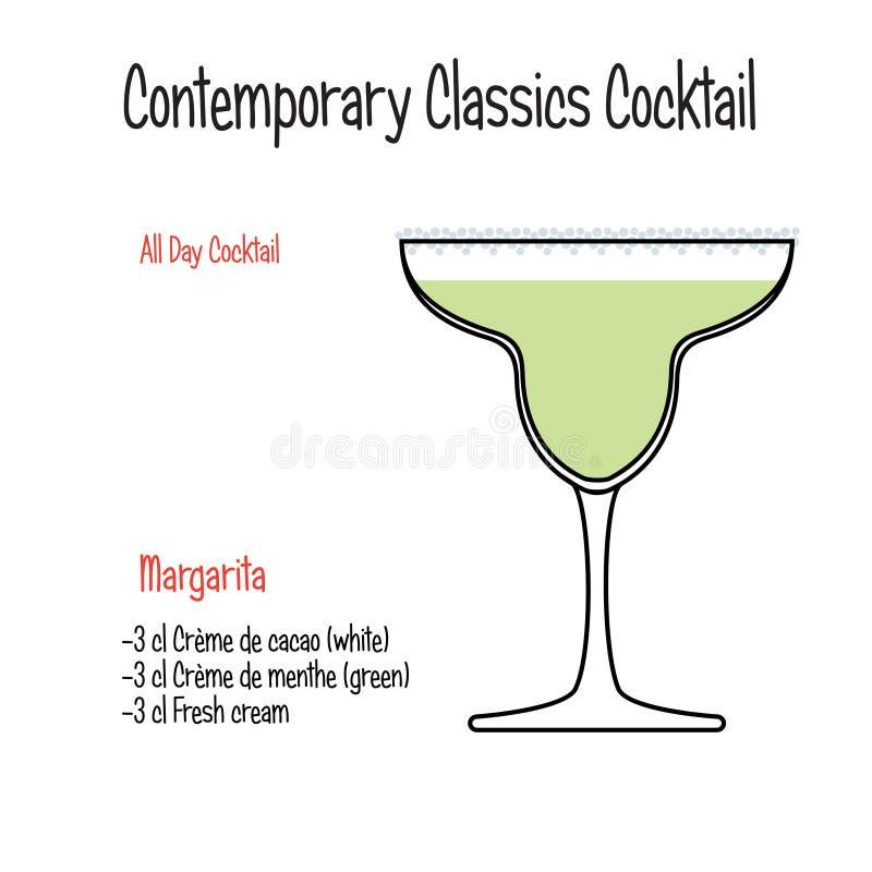 Margarita alcoholic cocktail vector illustration recipe isolated. Set of hand drawn alcoholic drinks, Margarita alcoholic cocktail vector illustration recipe stock illustration