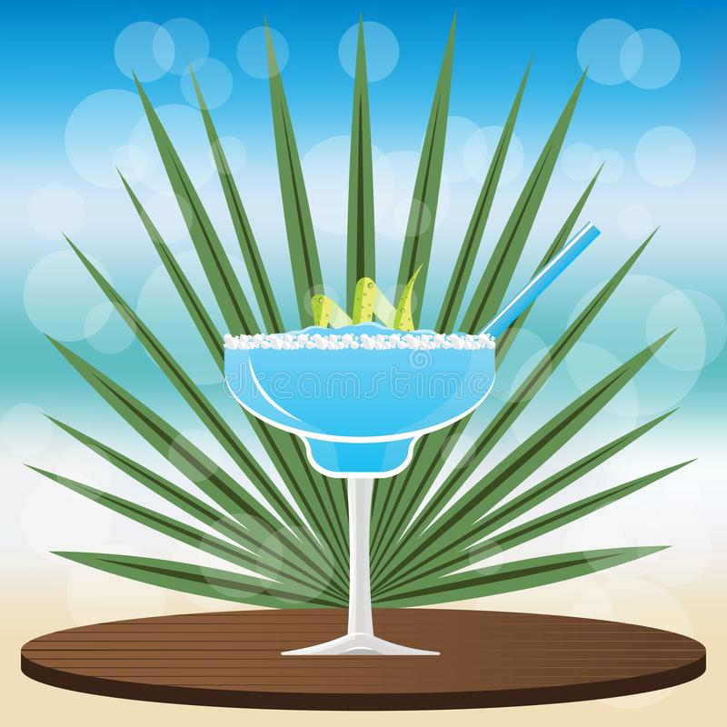 Margarita blue curacao cocktail. On wooden classic tray to place your product , on blurred background with bokeh vector illustration for web and print stock illustration