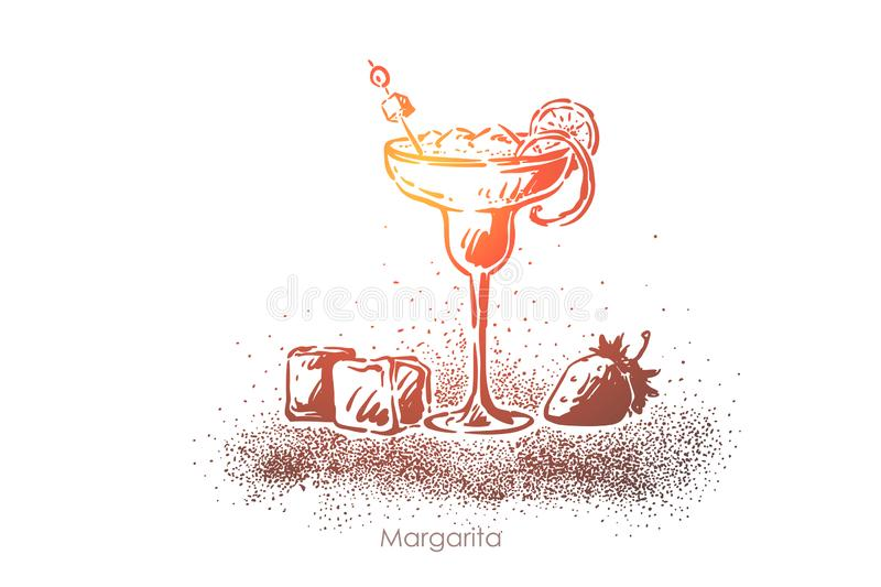 Margarita closeup, delicious refreshment, tequila with ice and lemon slice, luxury beverage glass with strawberry. Girly alcohol drink, tropical cocktail vector illustration