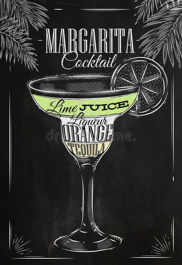 Margarita cocktail chalk vector illustration