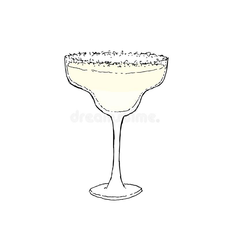 Margarita Cocktail Color Digital drawing vector illustration. Glass on white isolated background. Margarita Cocktail in a glass decorated with salt. Colorful stock illustration